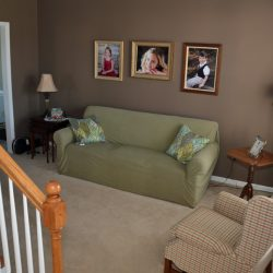 living room painted whitall brown