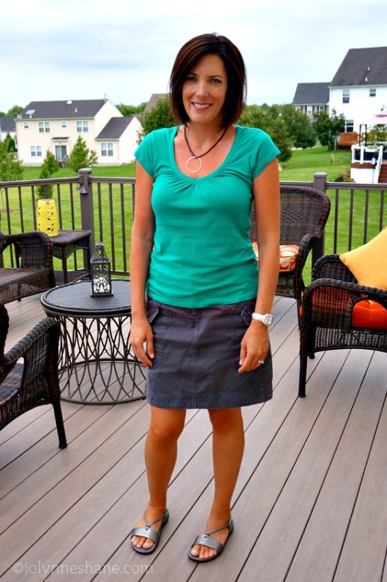 Teal Tee with Gray Twill Skirt