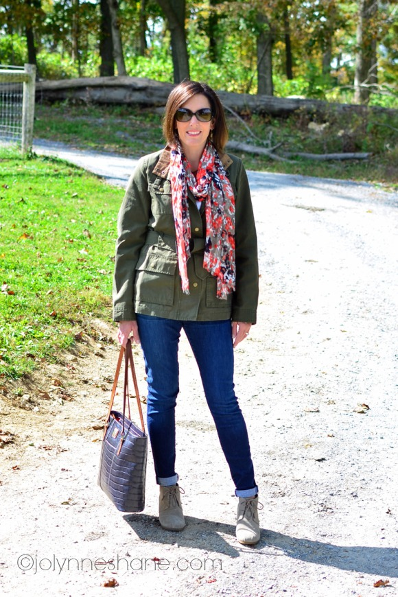 military jacket with coral scarf