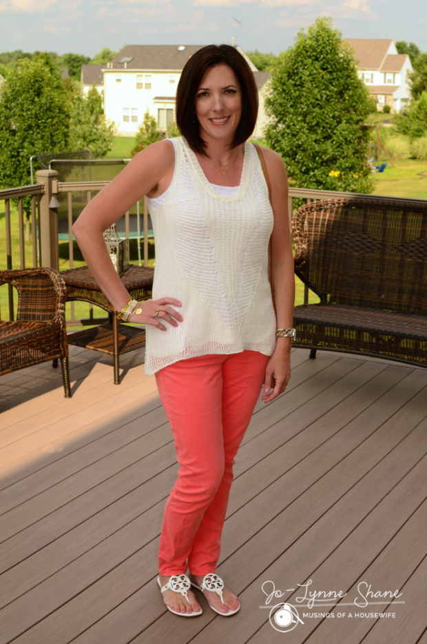 crochet tunic with coral jeans