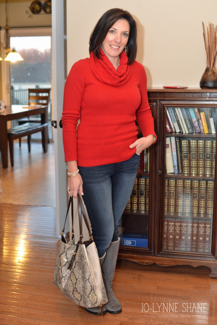 Red Cowl Neck Sweater