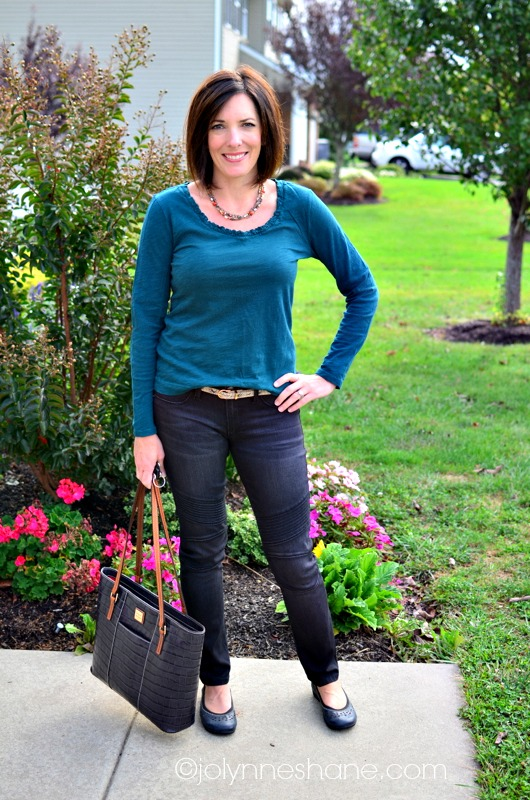 moto jeans with teal top