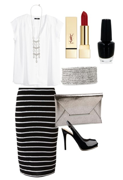 dressy black and white skirt outfit