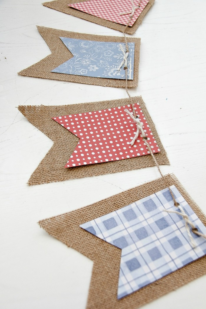 how to make a red white and glue banner for DIY July 4th Banner