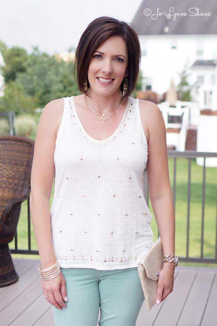 Fashion Over 40 Summer Date Night: Embellished Tank with Mint Skinnies