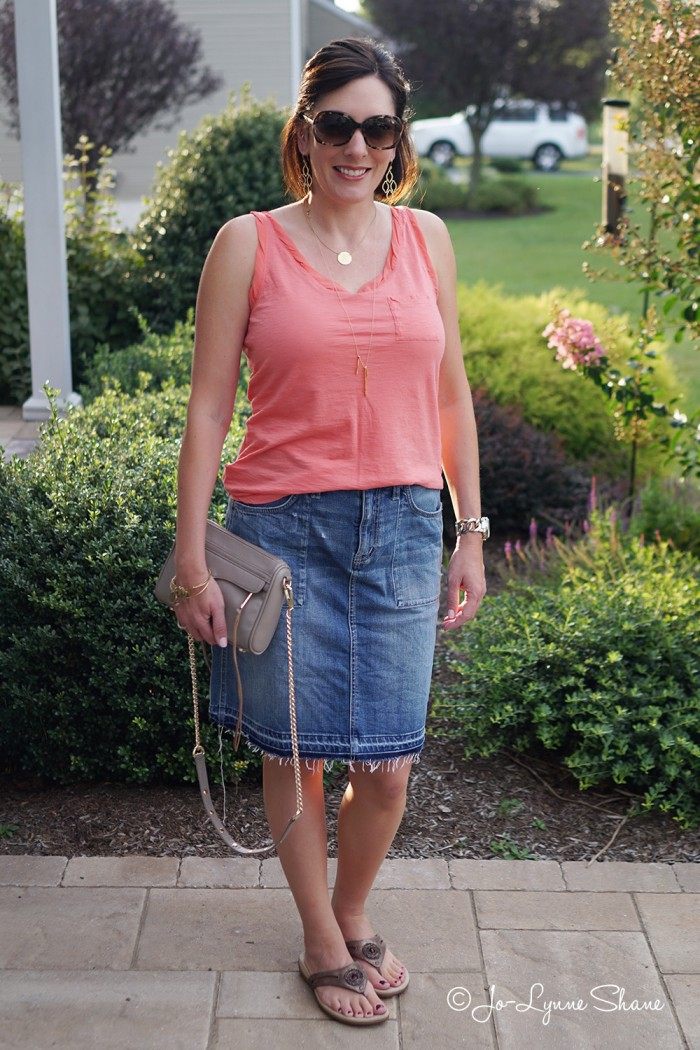 Jean Skirt + Tank Top + Sandals = the perfect casual summer outfit for the mom on the go!