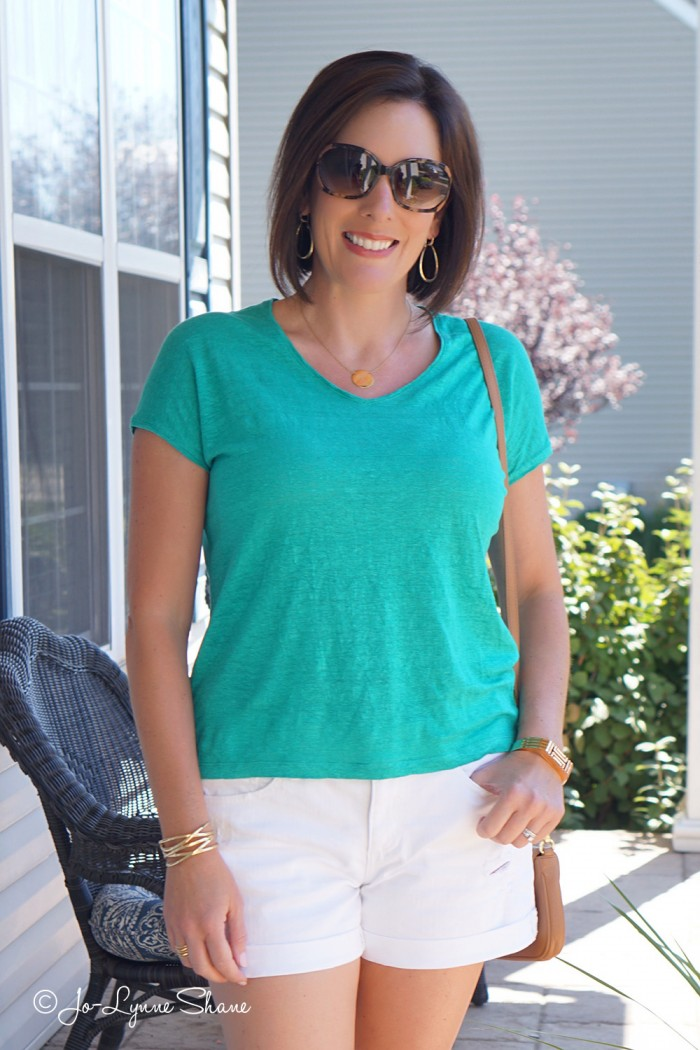 Easy Summer Outfit: Green Slouchy Linen Tee + White Boyfriend Shorts