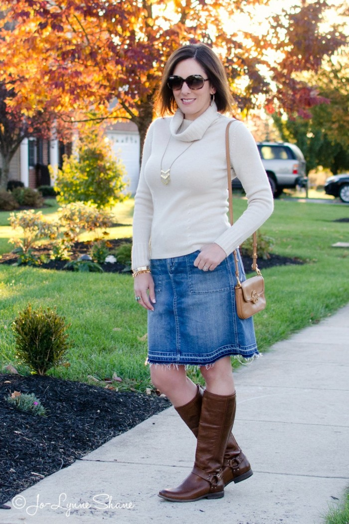 Fall Outfit Inspiration: Denim Skirt + Riding Boots | Fashion for Women Over 40 | Everyday Fashion