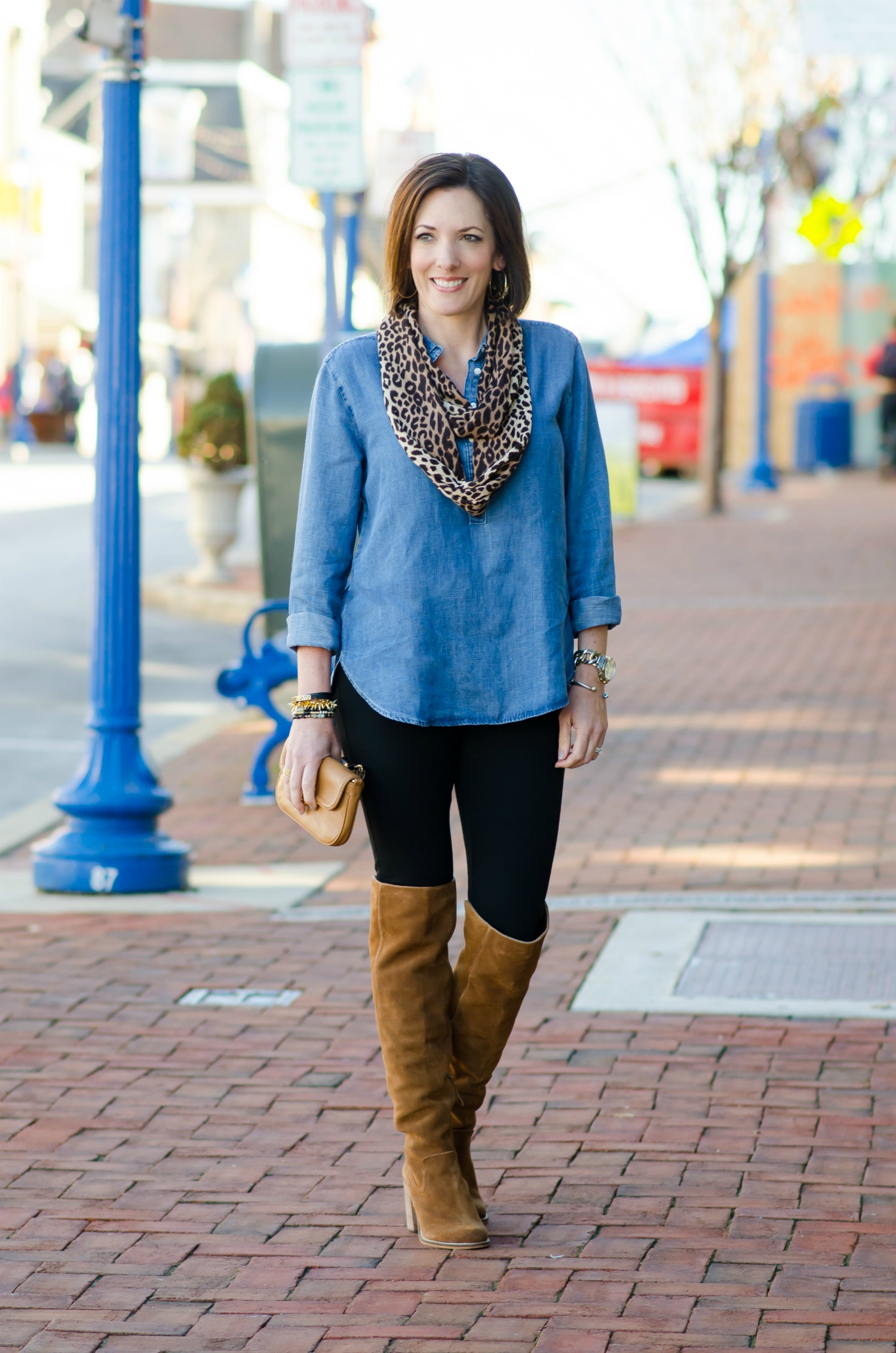 69e4469ce735e Thanksgiving Outfit Idea: Chambray Shirt and Leopard Scarf with Leggings  and brown Over the Knee