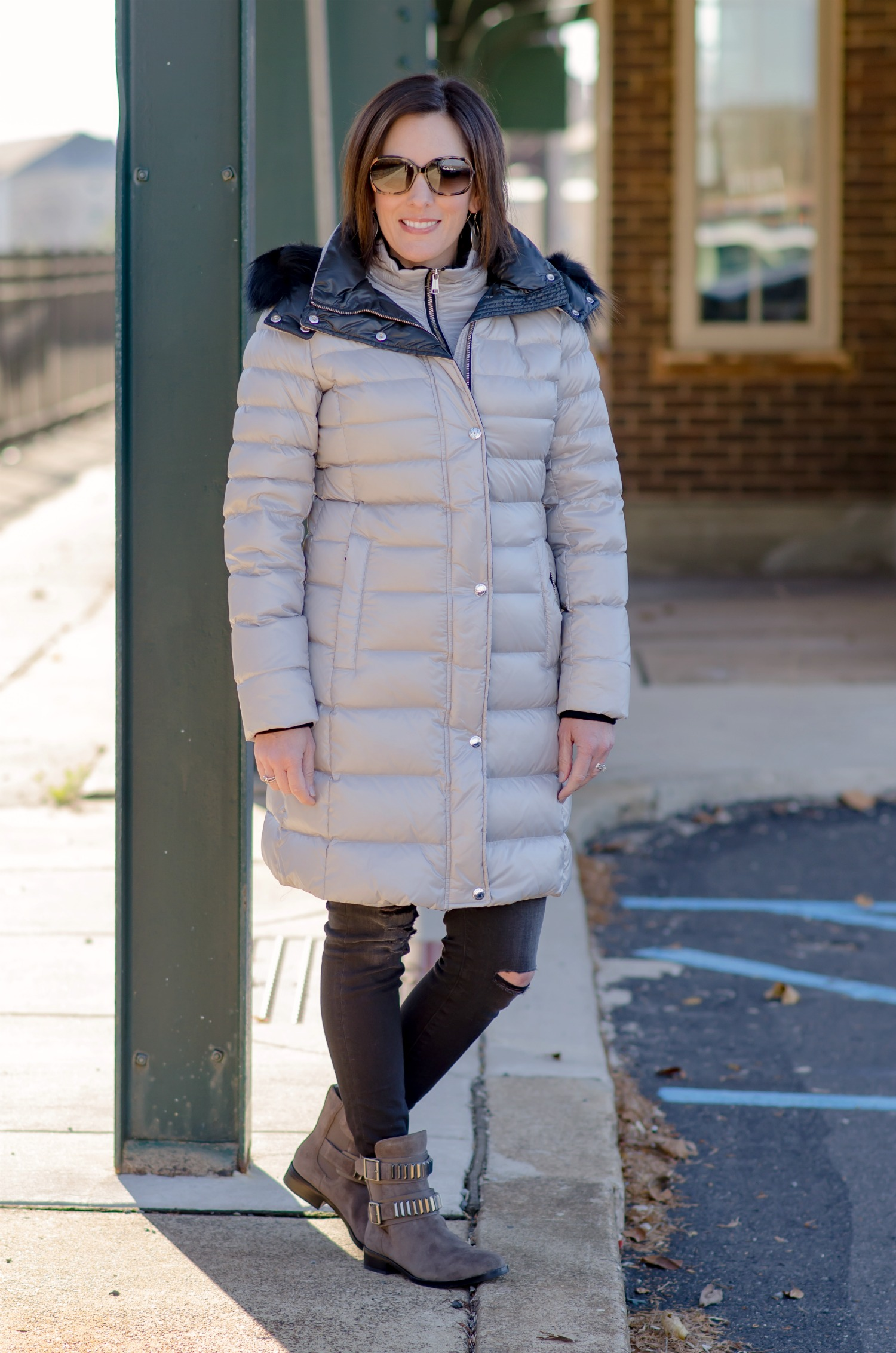 3b5917a92a7 Fashion for Women Over 40  Andrew Marc Gayle Quilted Down Coat with  Detachable Fur-