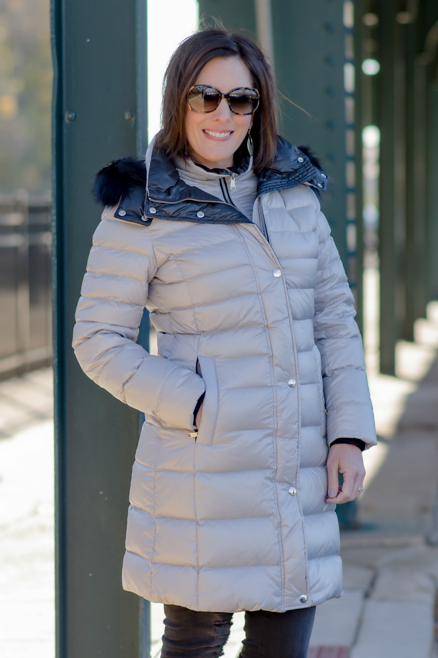 Fashion for Women Over 40: Andrew Marc Gayle Quilted Down Coat with Detachable Fur-Trim Hood