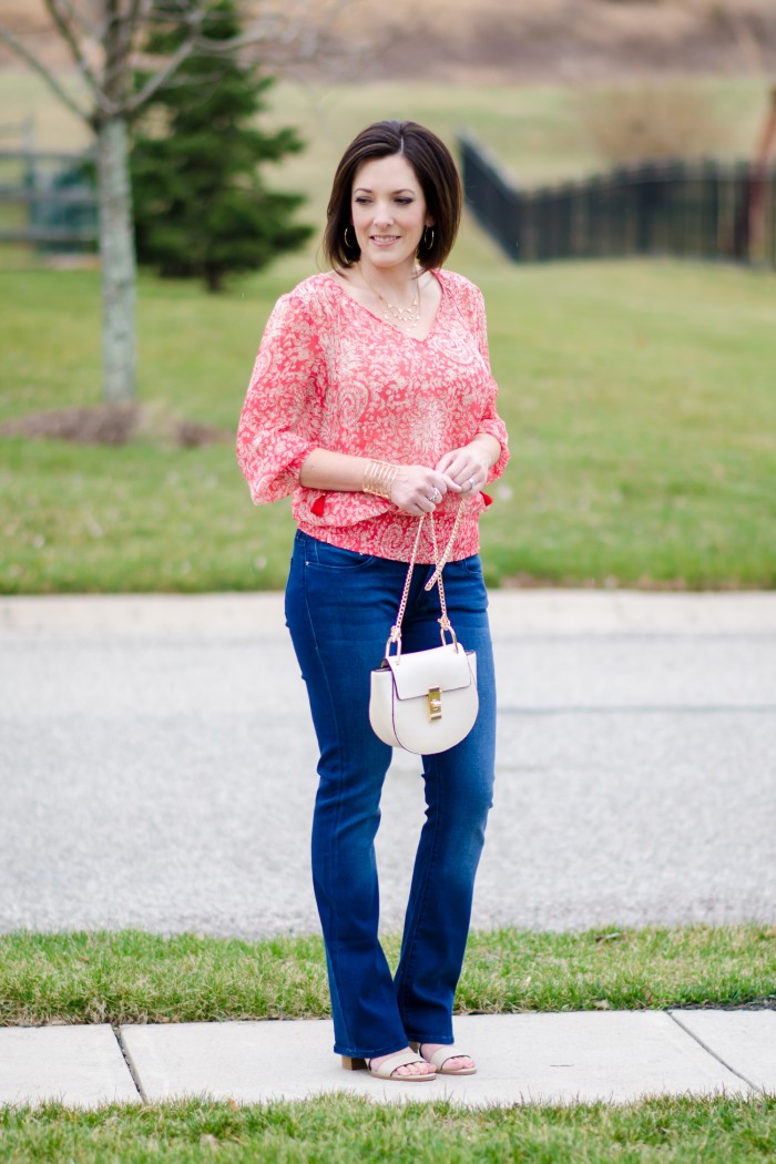 Spring Style: Coral Banded Top with Baby Bootcut Jeans and Payless Romeo Block Heel Sandal #PaylessforStyle