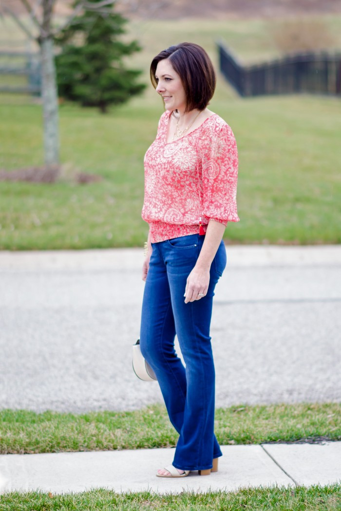 Fashion Over 40: Coral Banded Top with Bootcut Jeans and Payless Romeo Block Heel Sandal #PaylessforStyle