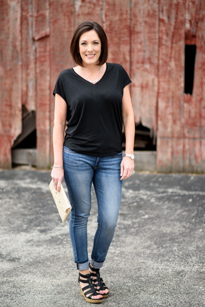 The perfect casual spring outfit: Black Dolman with Light Wash Skinnies and Caged Wedge Sandals from @officialpayless
