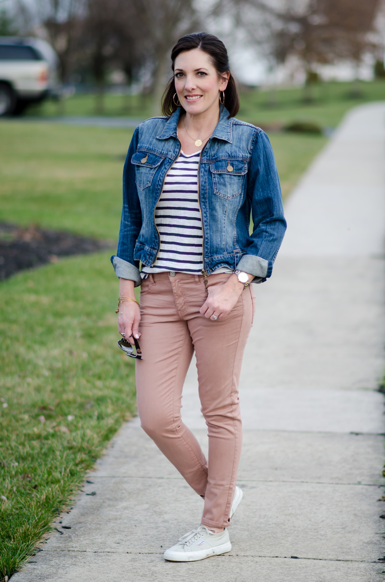Spring Outfit Inspo: Blush Jeans with Denim Jacket