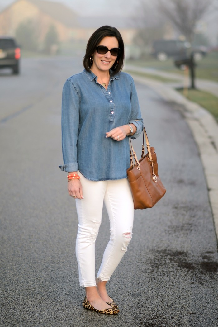Chambray shirt, white distressed ankle skinnies, and leopard ballet flats!