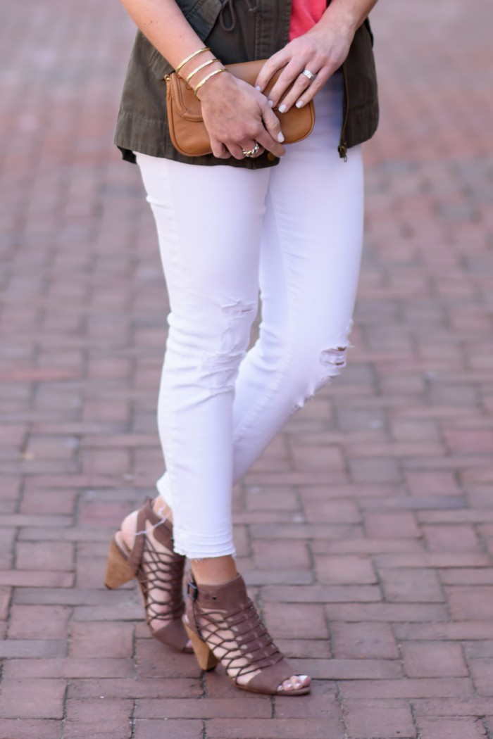 Vince Camuto 'Evel' Leather Sandal + J Brand Low Rise Crop Jeans (Demented White Distressed)