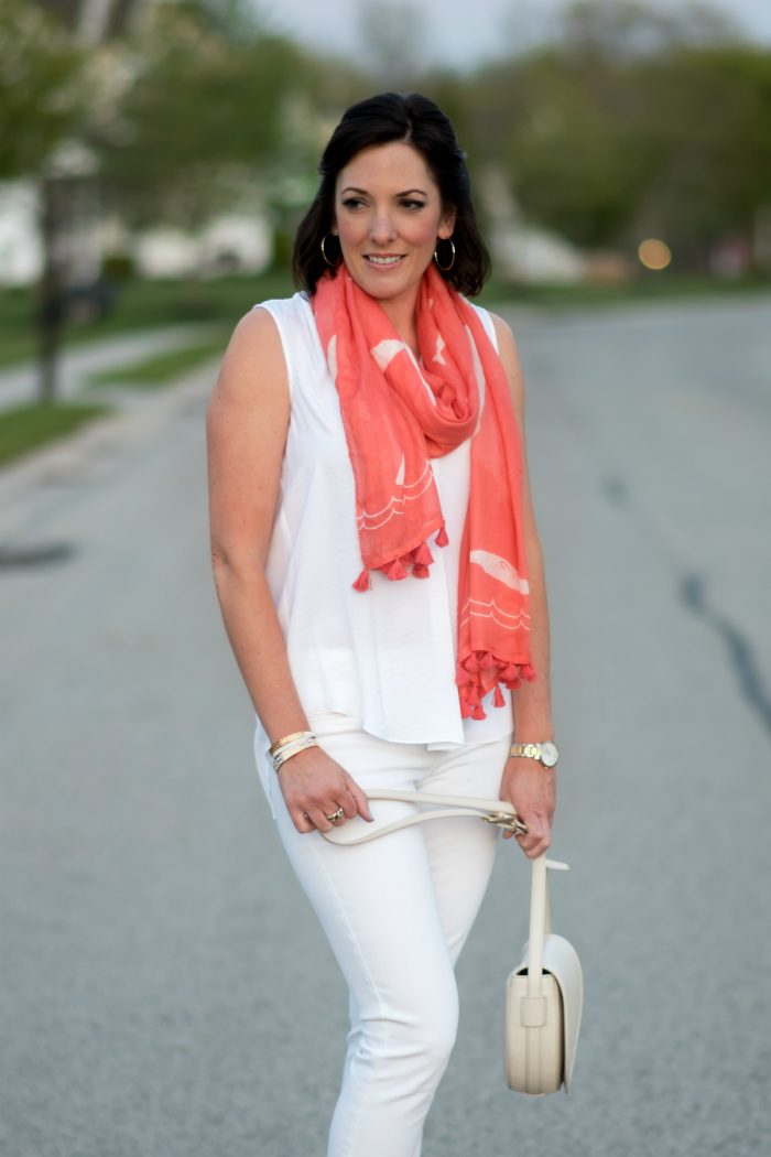 Jo-Lynne Shane wearing LOFT coral whale scarf with white shirred blouse and white skinny jeans.