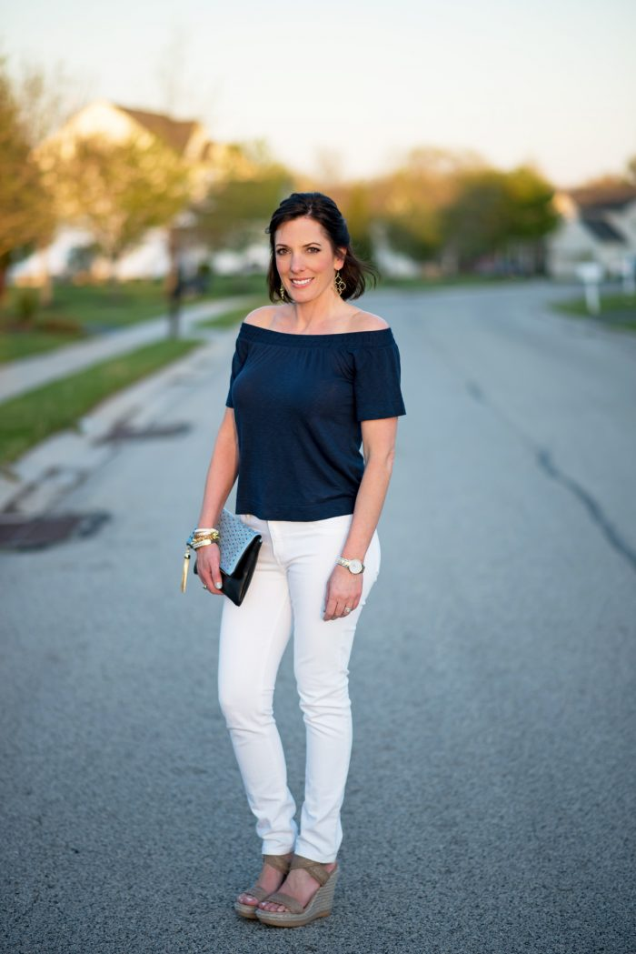 Fashion Over 40: off the shoulder top with white jeans and wedge sandals