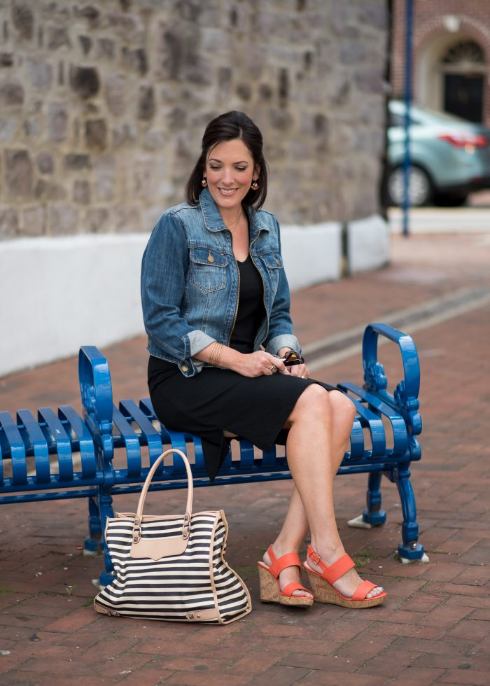 Casual Black Dress with Orange Wedge Sandals and Black Striped Tote