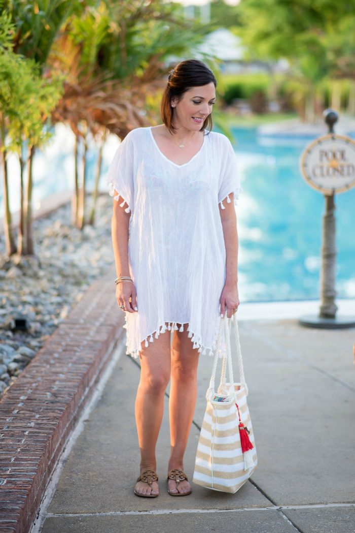 The perfect swimsuit cover-up caftan with tassel trim!