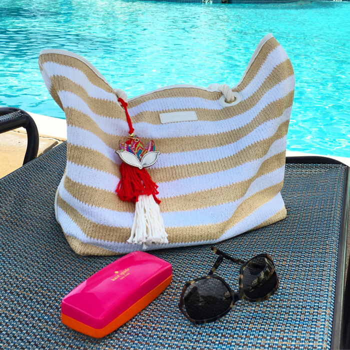 Beach/Pool Day Survival Necessities: a cute striped tote and your favorite pair of shades