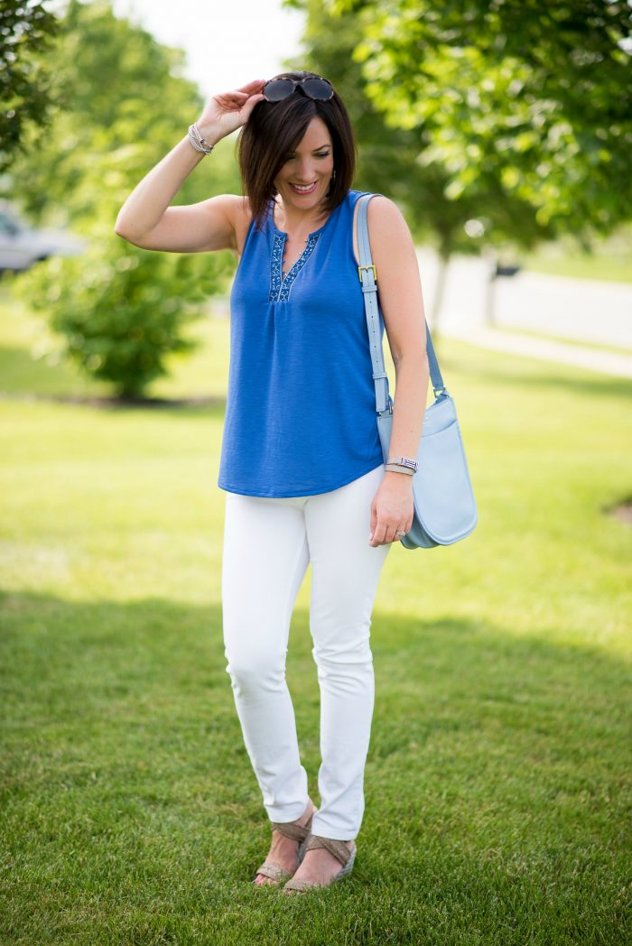 This is such a fresh and classy summer outfit with white skinny jeans for women over 40. I paired it with the White House Black Market Embroidered Romantic Tank and Stuart Weitzman Elixir Wedge Sandals.