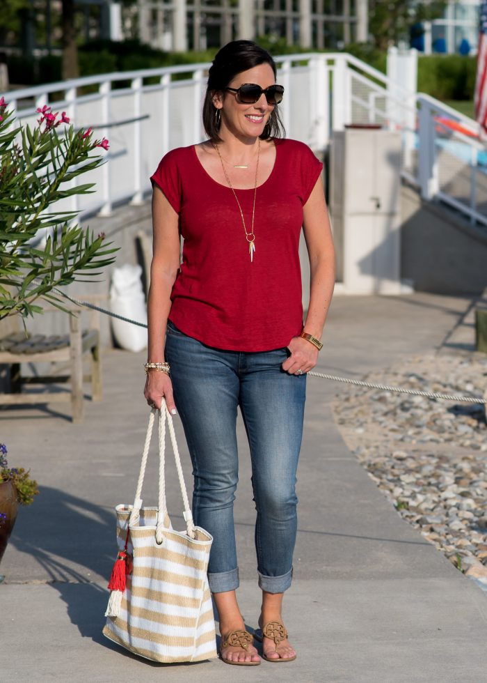 This casual 4th of July outfit for women over 40 is festive but tasteful. You can easily adapt this July 4th outfit idea with what you have in your closet!