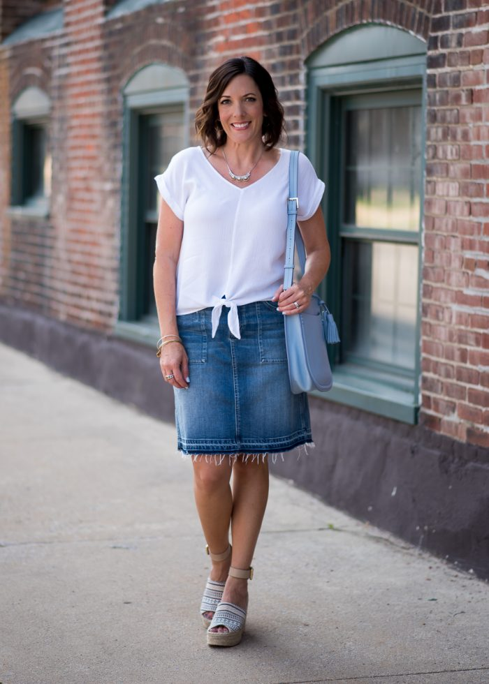 This denim and white outfit with Marc Fisher Adalyn espadrille wedges is the perfect fresh and easy look for summer.