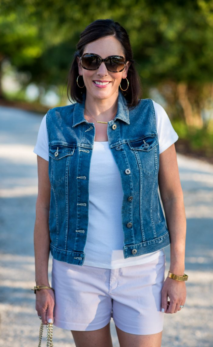 Summer Shorts Outfit: Chino Shorts with T-Shirt and Denim Vest | Fashion Over 40