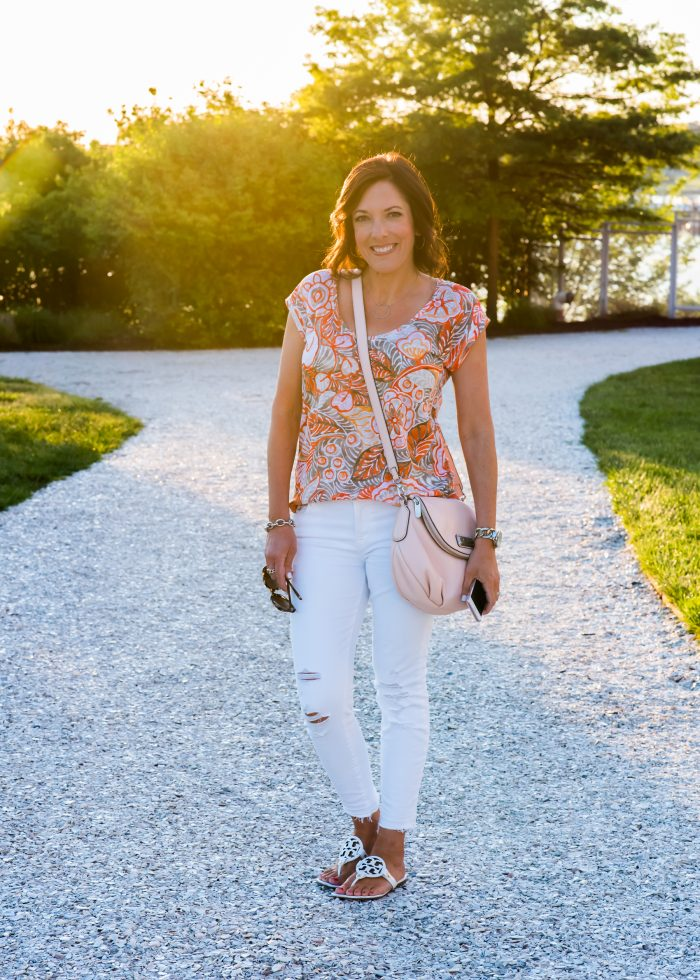 LOFT Verano Linen Shirttail Tee with white distressed crop jeans and white sandals