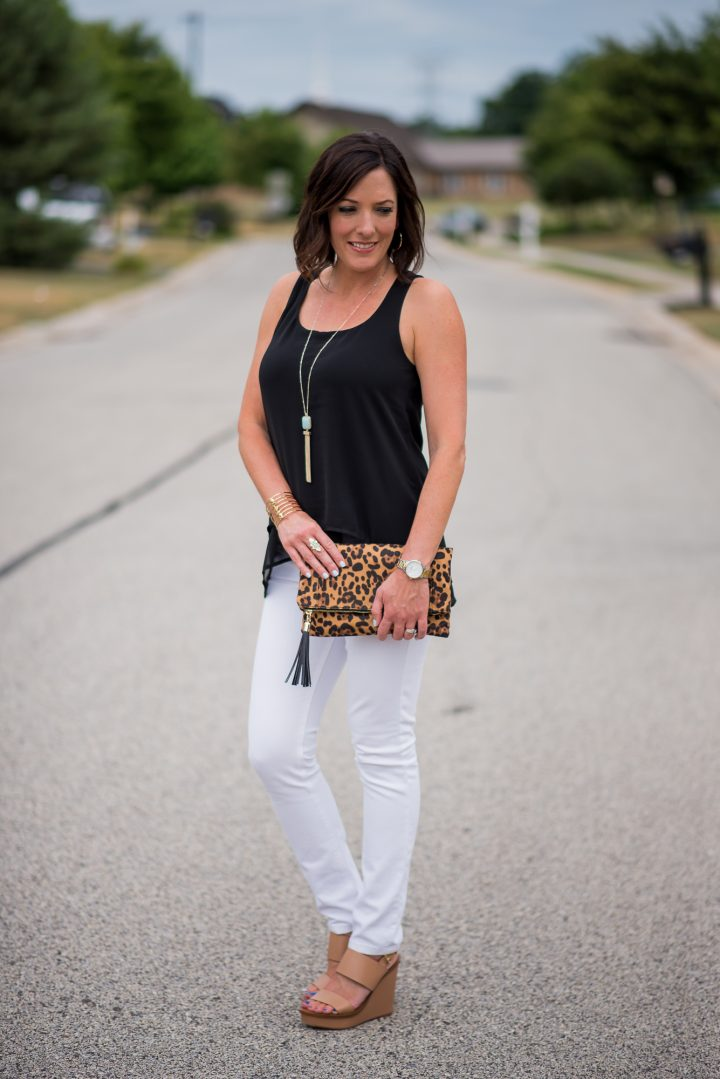 how to style a layered tank for a classic black-and-white summer outfit for women over 40