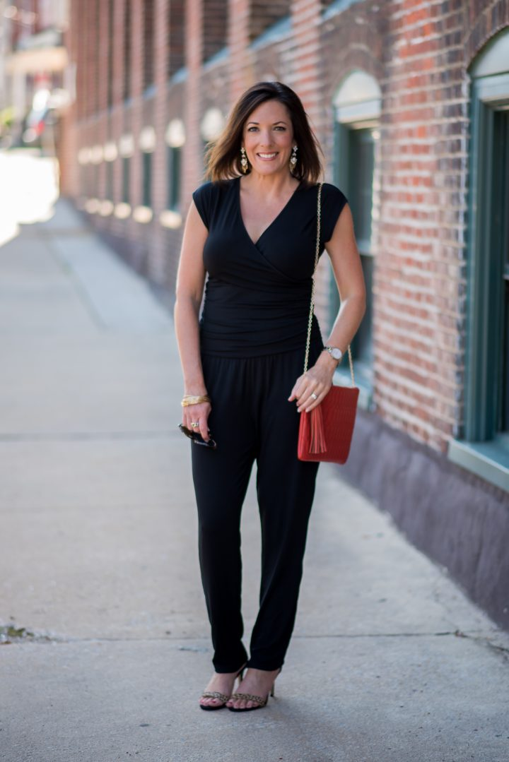 black jumpsuit with leopard sandals 1