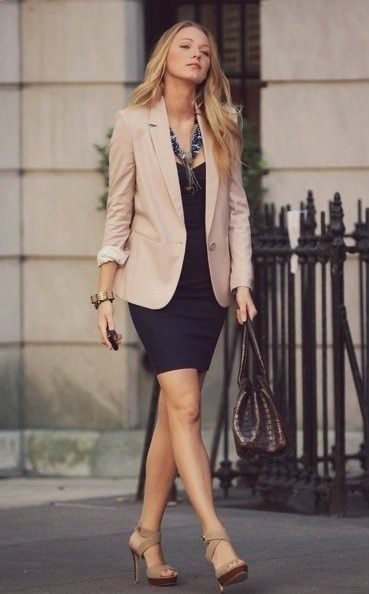 summer outfit ideas for work: khaki blazer over navy sheath dress