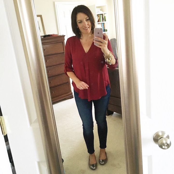 lush blouse with skinnies and tory heidi flats