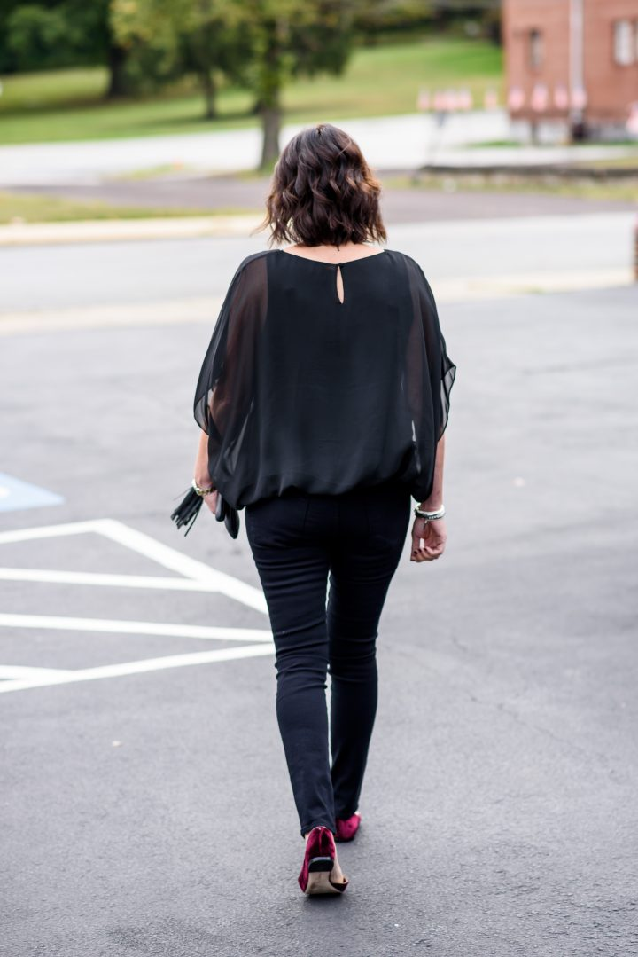 I absolutely love a black on black outfit. It's so chic and sophisticated and a little mysterious -- perfect for a GNO or a date night with your honey.