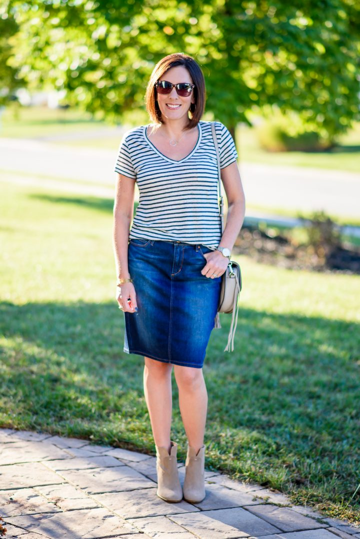 Jean Skirt and Booties Outfit for Fall