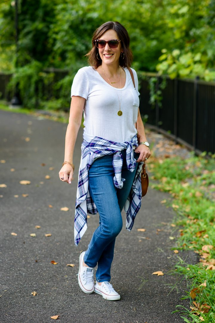 Styling a casual fall plaid shirt outfit for a fun weekend look featuring the Rails Hunter Plaid Shirt and Wit & Wisdom Ab Solution Stretch Skinny Jeans from Nordstrom.