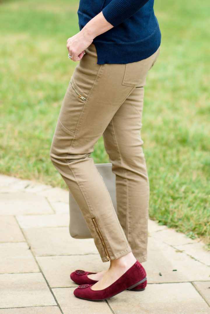 Burgundy suede flats elevate this not-so-basic navy and khaki outfit!