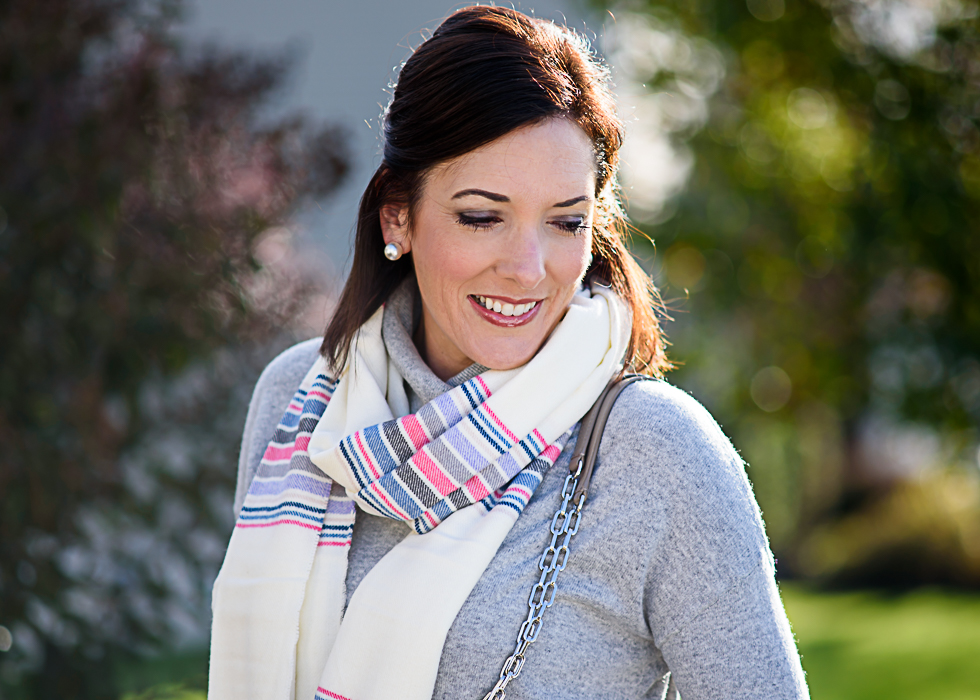 Loving this pastel striped scarf for fall and winter! Perfect for holiday gift giving too!
