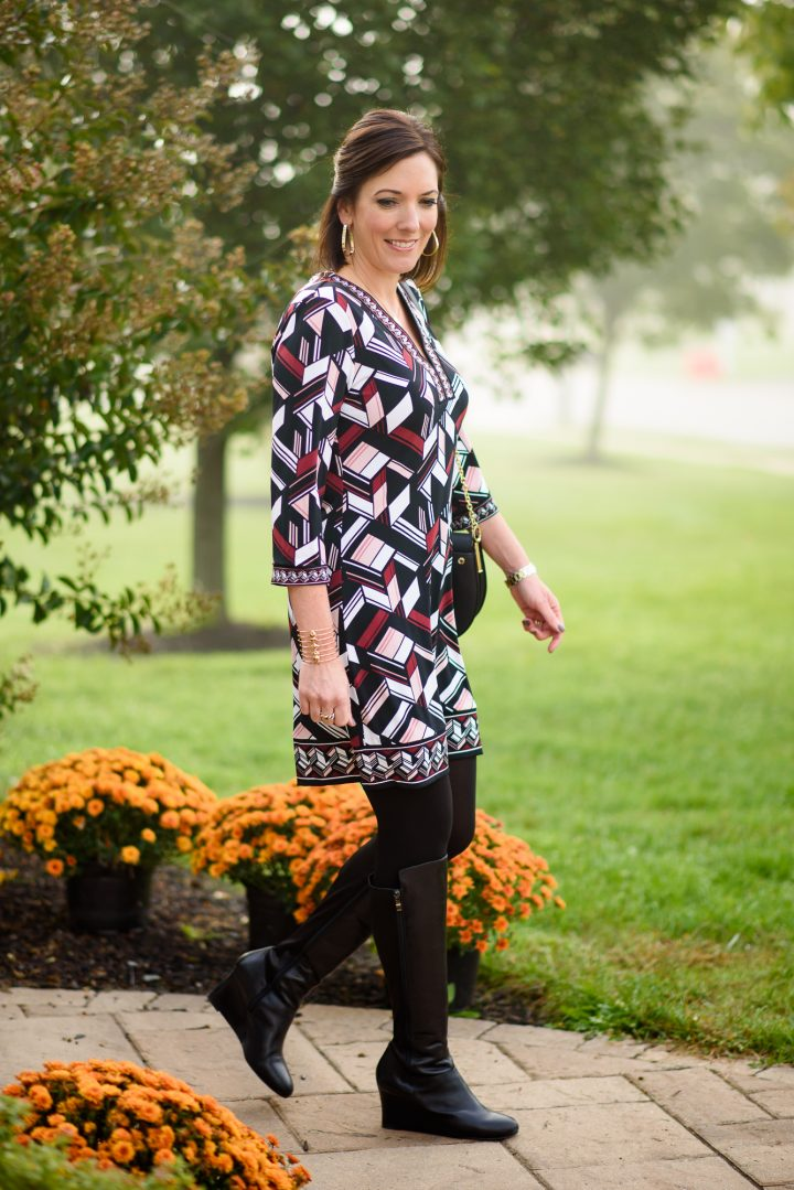 a Geo Print Shift Dress styled two ways - with suede pumps and tall wedge boots