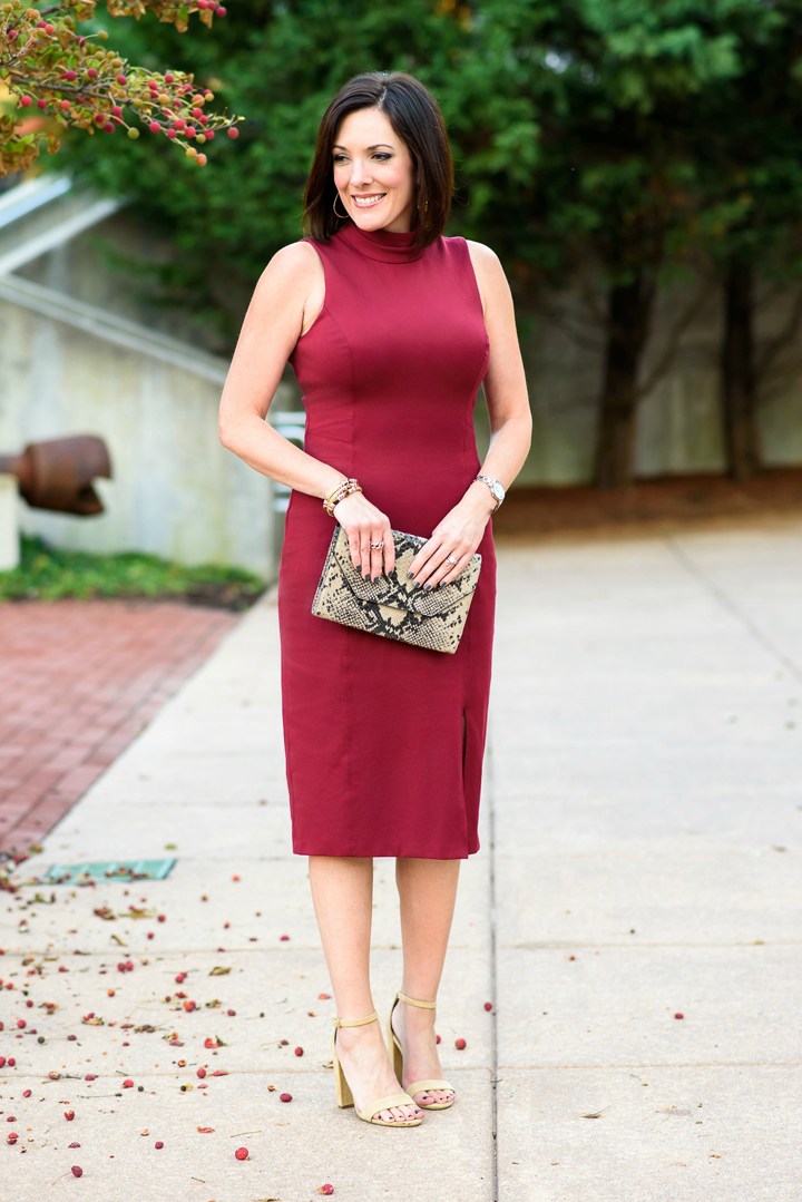 Styling this White House Black Market sleeveless mock neck sheath with chunky suede Carrson Sandals -- the perfect outfit for a fall wedding or event.