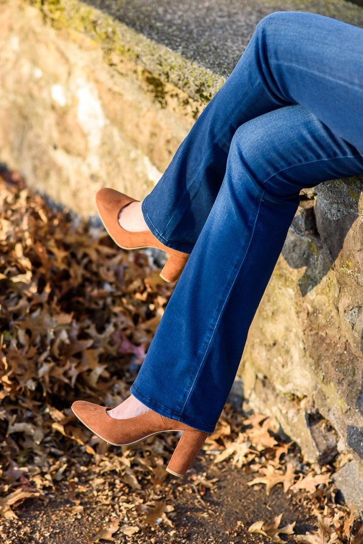 Thanksgiving Outfit Idea featuring Payless cognac suede pumps