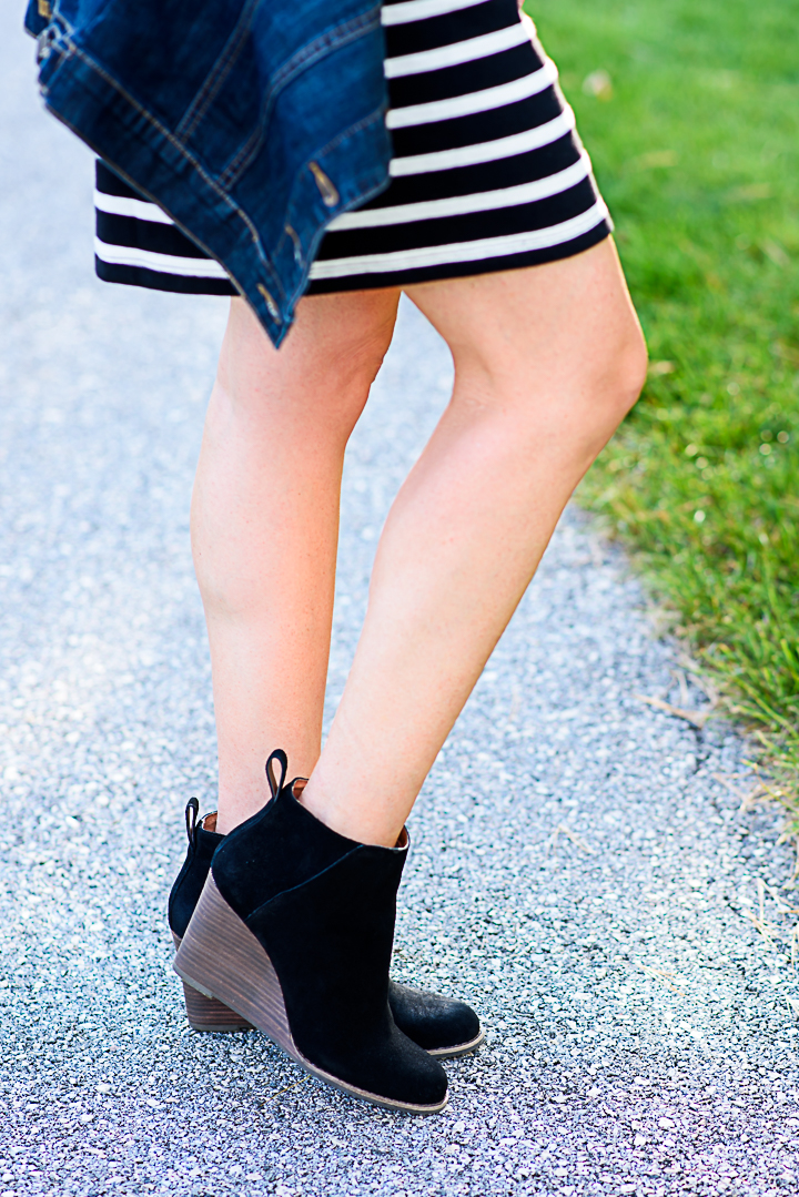 Styling the Lucky Brand Yezzah Wedge Bootie with a black and white striped shift dress for fall