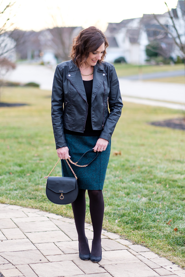 Fashion Over 40: How to style a pencil skirt with a moto jacket