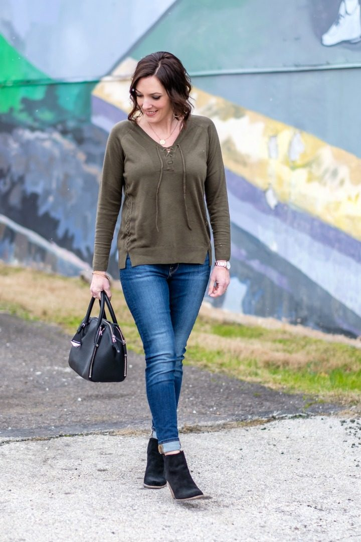 Spring Transitional Style with Lucky Brand: Raglan Lace Up Sweater in Grape Leaf + Brooke Legging Jeans