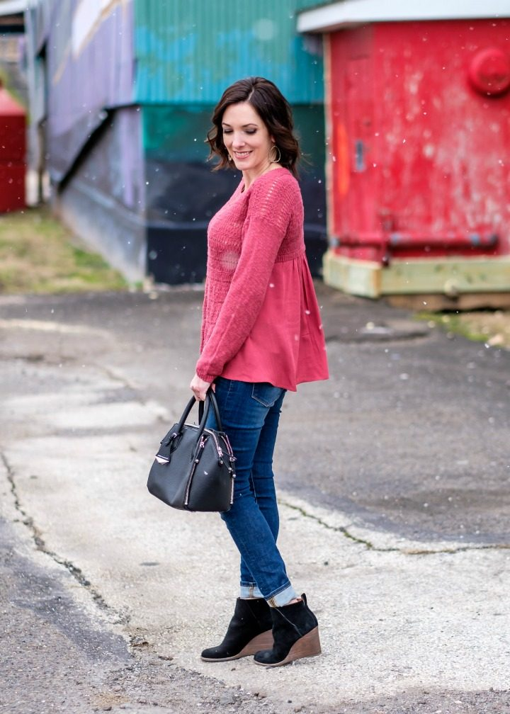 Spring Transitional Style: pink Drape Back Sweater, Lucky Brand Brooke Legging Jeans, and booties