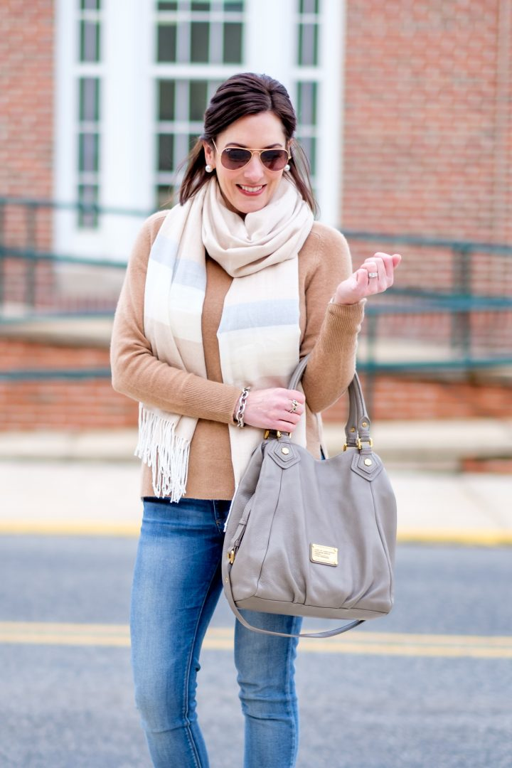 How to wear grey and camel together   Jo-Lynne Shane   Fashion Over 40