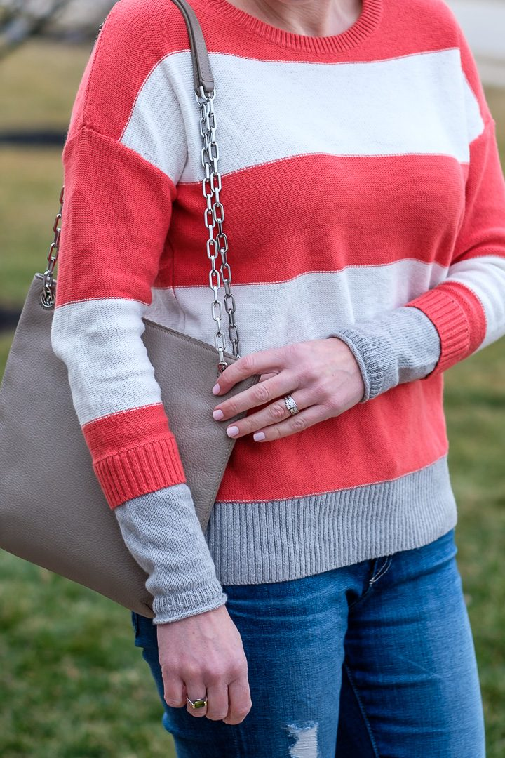 Wear Now & Later: This Striped Sweater is super cute and only $29! Size down; it runs big.