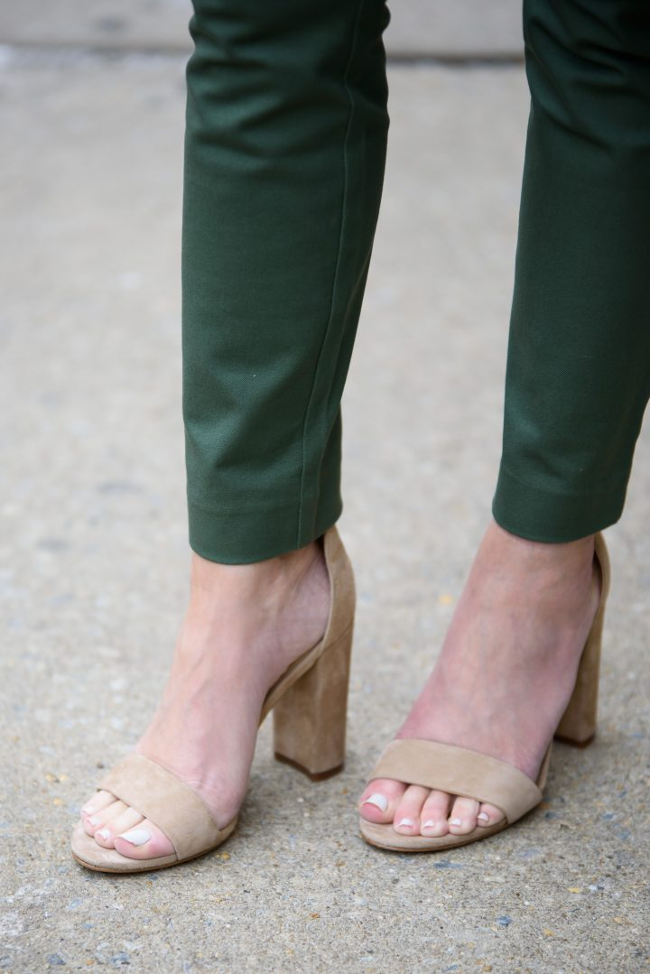 Jungle Green Ankle Skinny Pants and Oatmeal Suede Sam Edelman Yaro Ankle Strap Sandals